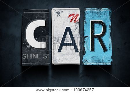 Car Word On Vintage License Plates, Concept Sign