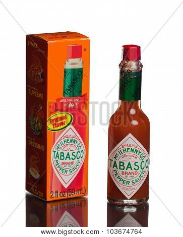 MIAMI, USA - August 31, 2015: Bottle of Tabasco hot sauce. Tabasco sauce was started in 1868.