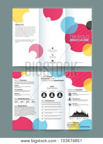 Front and back side presentation of professional Two page Business Trifold, Flyer, Banner or Template with abstract design.
