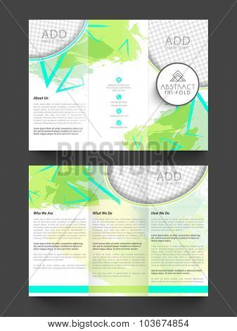 Professional Trifold Brochure, Template or Flyer design with two sided presentation and space for your images.