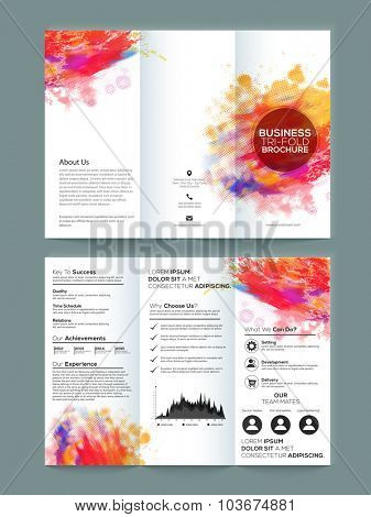 Creative Two page Business Trifold, Flyer, Banner or Template with front and back presentation.