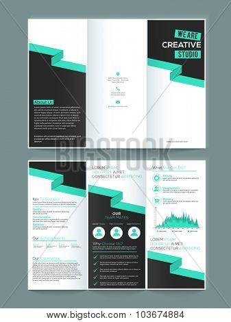 Creative Two page Business Trifold, Flyer, Banner or Template with front and inner page presentation.