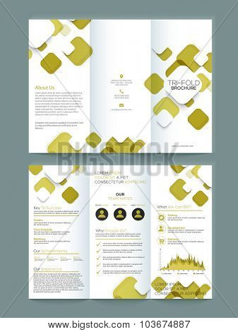 Creative Two page Business Trifold, Brochure, Flyer, Banner or Template with front and inner presentation.