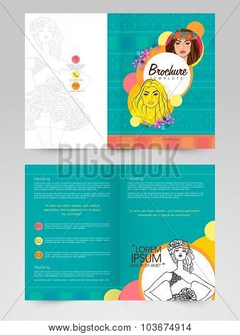 Creative professional Business Brochure, Template or Flyer design with illustration of a young modern girl.