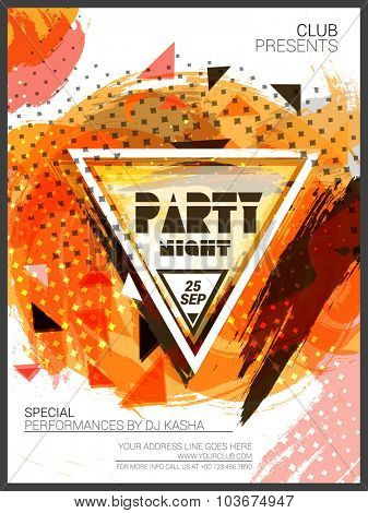 Party Night Template, Banner or Flyer presentation decorated with colorful abstract design.