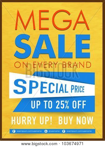 Creative Mega Sale Template, Banner or Flyer design with special discount offer on Every Brand.