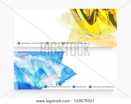 Creative website header or banner set decorated with abstract design.