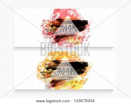 Creative website header or banner set with abstract design.