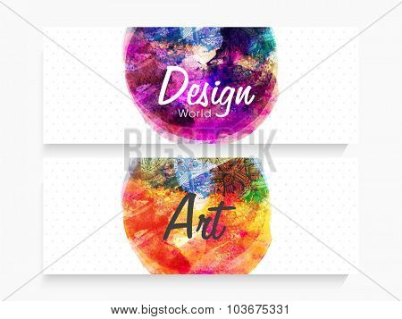 Creative artistic design decorated, Website header or banner set with free space for your text.