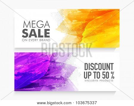 Creative abstract website header or banner set of Mega Sale with 50% discount on Exclusive Products.