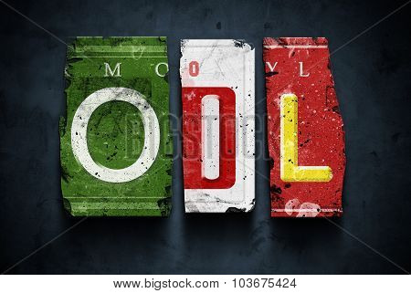 Oil Word On Vintage Car License Plates, Concept Sign