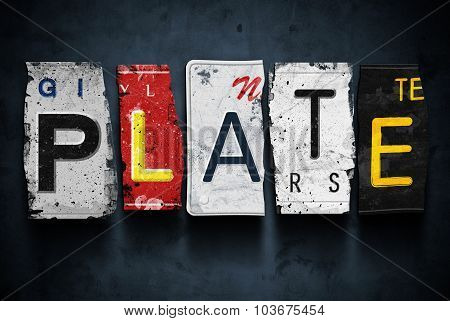 Plate Word On Vintage Car License Plates, Concept Sign