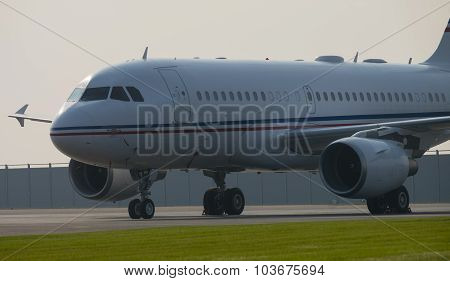 Airbus A-319 on the platform in the early morning