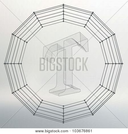 Vector illustration of letter T. Fonts of Mesh polygonal. Wire frame contour alphabets. Abstract cre