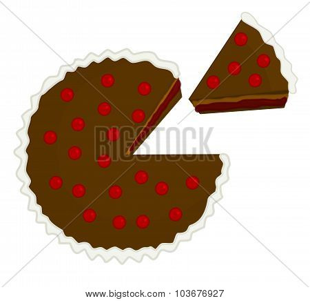 Cherry Chocolate Cake Illustration With Piece Cut Out