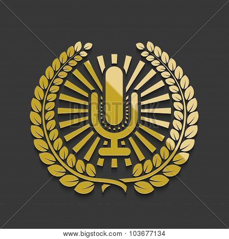 Vector modern golden microphone emblem