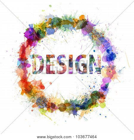 Design Concept, Watercolor Splashes As A Sign