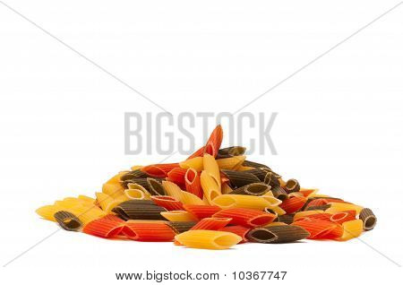 Heap of raw tricolore italian pasta
