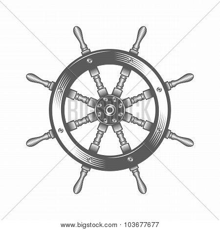 Steering wheel black and white vector illustration