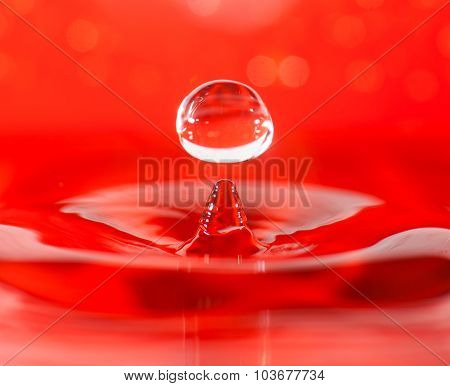 Water Drop Macro Closeup, Red Background