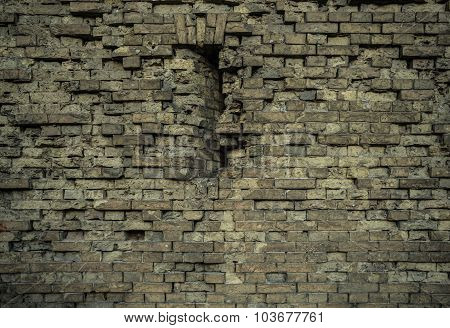 Aged old brick wall texture