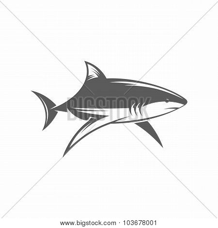 Shark in water black and white vector illustration