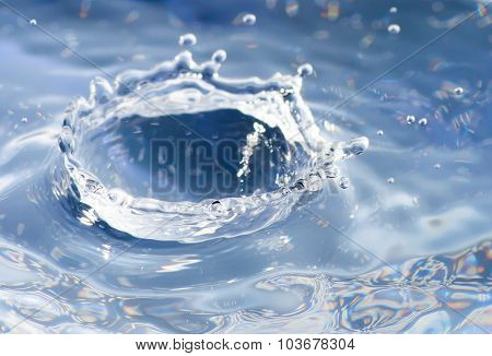 Water Splash Macro With Water Drops