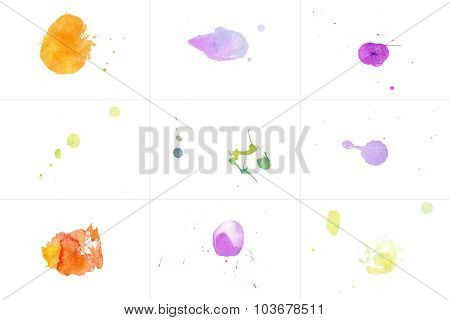 Watercolor Splashes Set On White