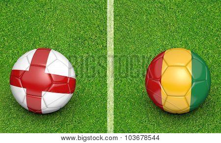 Team balls for England vs Guinea soccer tournament match