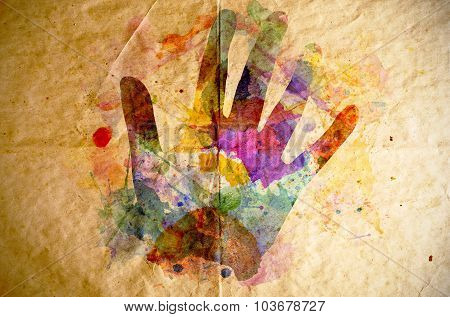 Watercolor Handprint, Old Paper Background