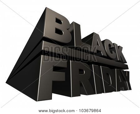 Black friday 3D banner template isolated on white background.