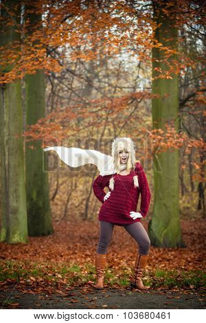 Fashion Girl In Autumnal Park, Outdoor