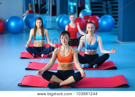 Portrait of young women at their aerobics class