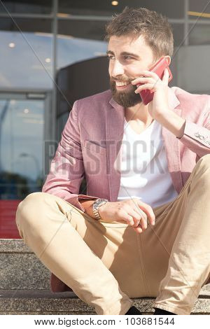 Fashionable Men Talking By Mobile Phone.