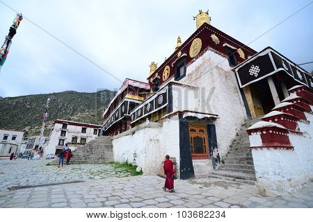 Monks in Drepung monastery in Lhasa, Tibet