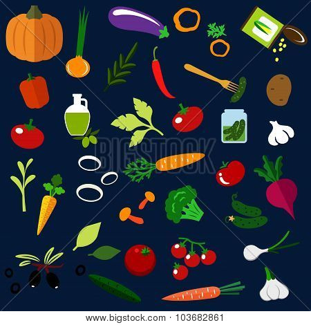 Natural ripe vegetables flat icons