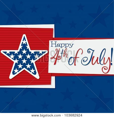 Square 4Th Of July Card In Vector Format.