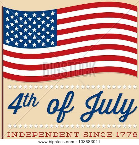 Flag 4Th Of July Card In Vector Format.