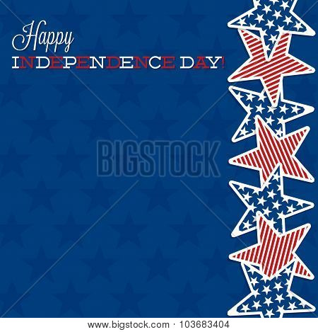 Line Of Stars Independence Day Card In Vector Format.