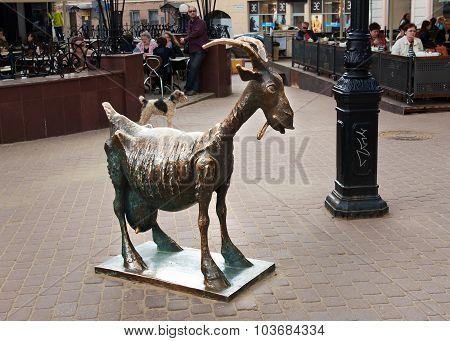 Sculpture Funny Goat On Bolshaya Pokrovskaya Street In Nizhny Novgorod