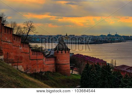 View Of Nizhny Novgorod Kremlin On Sunset