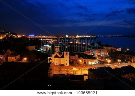 View Of Center Nizhny Novgorod At Night
