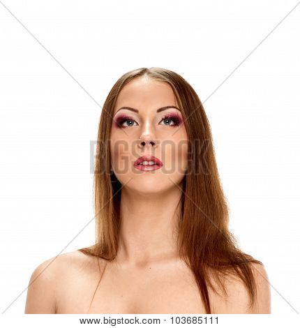 Beautiful pretty woman with long hair