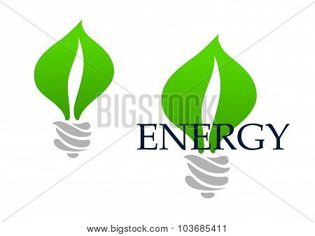 Light bulb abstract icon with green leaves
