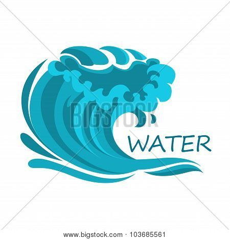 Ocean wave symbol with foam and splashes