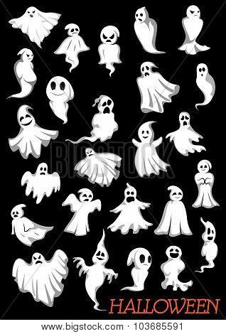 Big set of Halloween flying ghosts