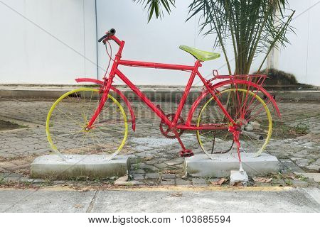 Bicycle Model Sinked In The Concrete