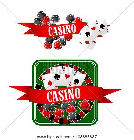 Casino icons with dice, chips, cards and roulette