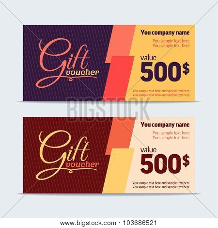 Gift voucher. Vector template