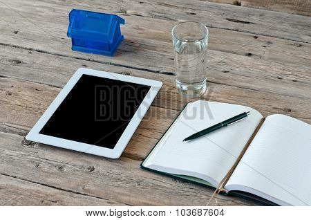 White Tablet Computer With A Blank Screen
